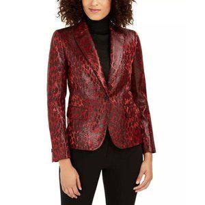 Anne Klein Red Shiny Leopard Print Blazer Jacket